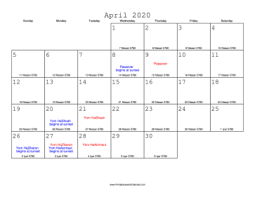 April 2020 Calendar with Jewish equivalents