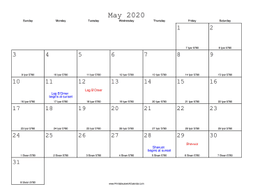 May 2020 Calendar with Jewish equivalents