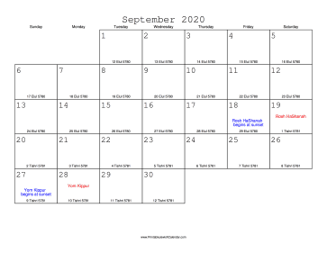 September 2020 Calendar with Jewish equivalents