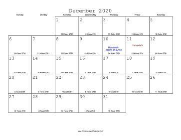 December 2020 Calendar with Jewish equivalents