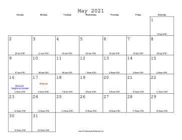 May 2021 Calendar with Jewish equivalents