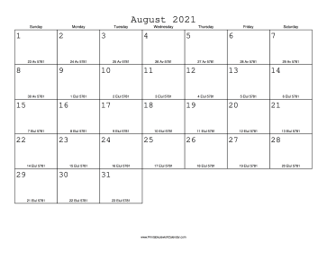 August 2021 Calendar with Jewish equivalents