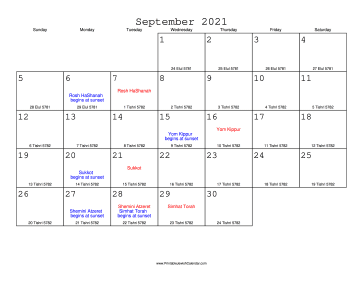 September 2021 Calendar with Jewish equivalents