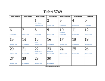 Tishri 5769 Calendar with Jewish holidays and Gregorian equivalents