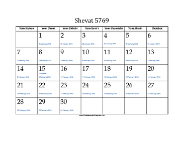 Shevat 5769 Calendar with Jewish holidays and Gregorian equivalents
