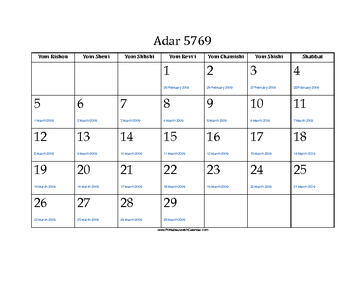 Adar 5769 Calendar with Gregorian equivalents