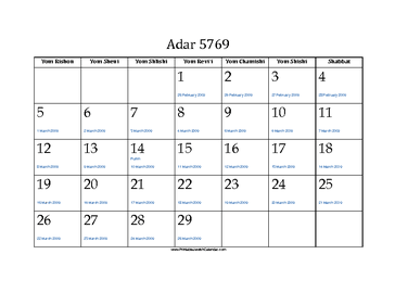 Adar 5769 Calendar with Jewish holidays and Gregorian equivalents