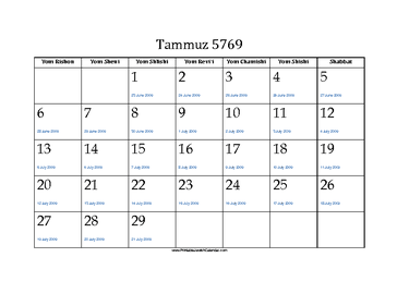 Tammuz 5769 Calendar with Jewish holidays and Gregorian equivalents