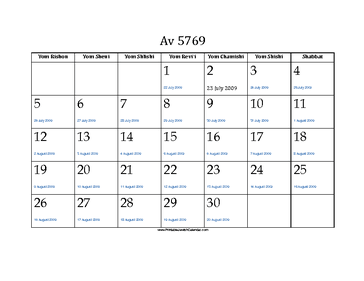 Av 5769 Calendar with Gregorian equivalents