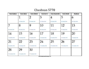 Cheshvan 5770 Calendar with Jewish holidays and Gregorian equivalents