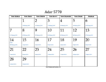 Adar 5770 Calendar with Jewish holidays and Gregorian equivalents
