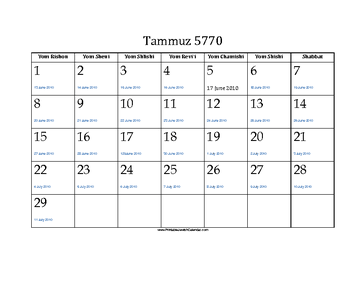 Tammuz 5770 Calendar with Gregorian equivalents