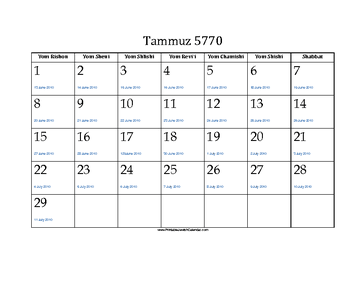 Tammuz 5770 Calendar with Jewish holidays and Gregorian equivalents