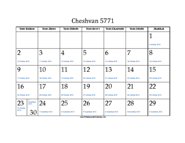 Cheshvan 5771 Calendar with Gregorian equivalents