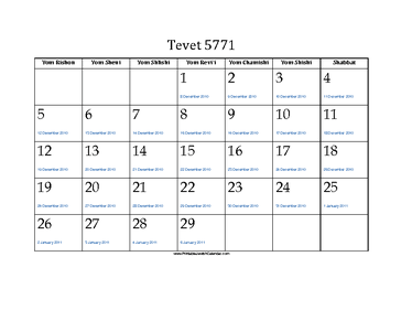 Tevet 5771 Calendar with Jewish holidays and Gregorian equivalents