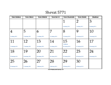 Shevat 5771 Calendar with Jewish holidays and Gregorian equivalents