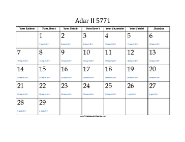 Adar_II 5771 Calendar with Gregorian equivalents