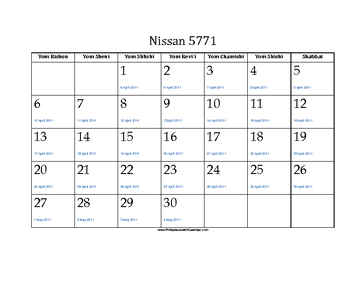 Nissan 5771 Calendar with Gregorian equivalents