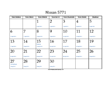 Nissan 5771 Calendar with Jewish holidays and Gregorian equivalents