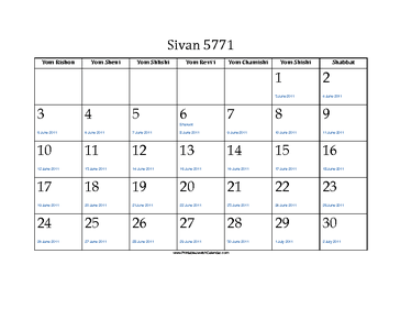 Sivan 5771 Calendar with Jewish holidays and Gregorian equivalents
