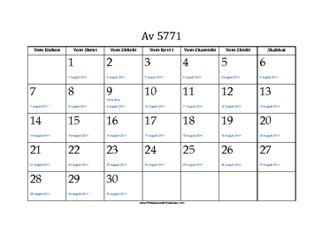Av 5771 Calendar with Jewish holidays and Gregorian equivalents