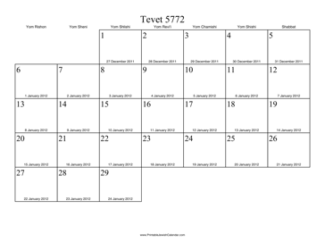 Tevet 5772 Calendar with Gregorian equivalents