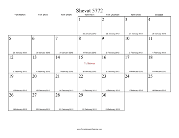 Shevat 5772 Calendar with Gregorian equivalents
