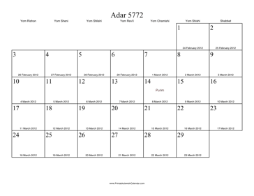 Adar II 5772 Calendar with Gregorian equivalents