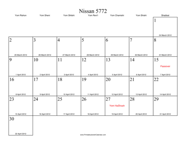 Nissan 5772 Calendar with Gregorian equivalents