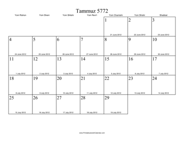 Tammuz 5772 Calendar with Gregorian equivalents
