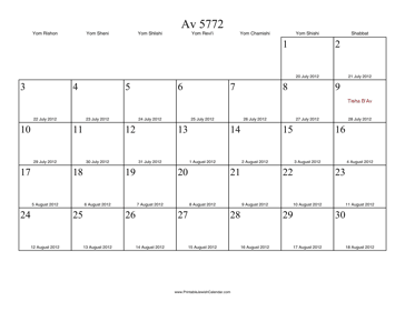 Av 5772 Calendar with Gregorian equivalents