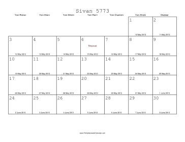 Sivan 5773 Calendar with Gregorian equivalents