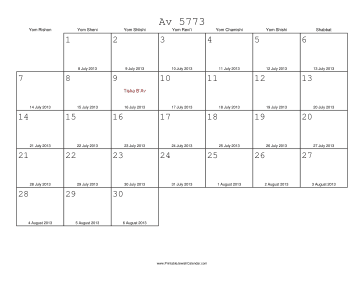 Av 5773 Calendar with Gregorian equivalents