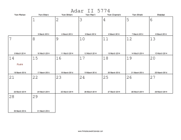 Adar II 5774 Calendar with Gregorian equivalents