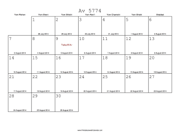Av 5774 Calendar with Gregorian equivalents