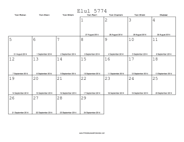 Elul 5774 Calendar with Gregorian equivalents