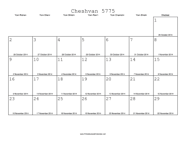 Cheshvan 5775 Calendar with Gregorian equivalents