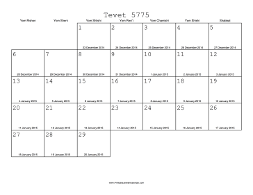 Tevet 5775 Calendar with Gregorian equivalents