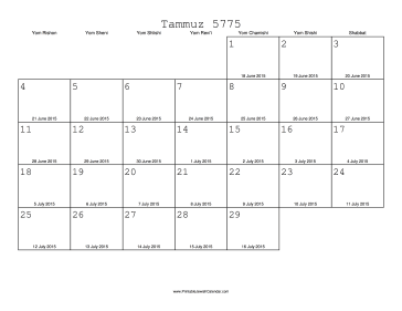 Tammuz 5775 Calendar with Gregorian equivalents