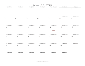 Adar_II 5776 Calendar with Gregorian equivalents