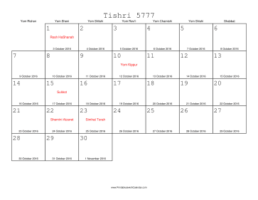 Tishri 5777 Calendar with Gregorian equivalents