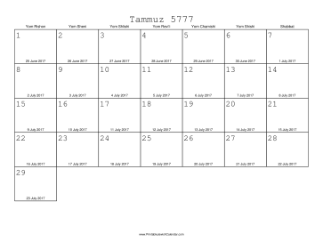 Tammuz 5777 Calendar with Gregorian equivalents