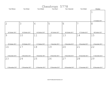 Cheshvan 5778 Calendar with Gregorian equivalents