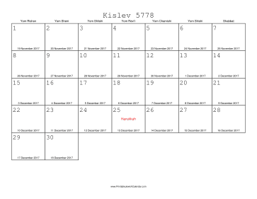 Kislev 5778 Calendar with Gregorian equivalents