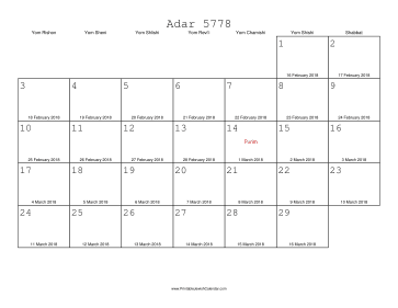 Adar 5778 Calendar with Gregorian equivalents