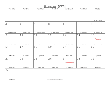 Nissan 5778 Calendar with Gregorian equivalents