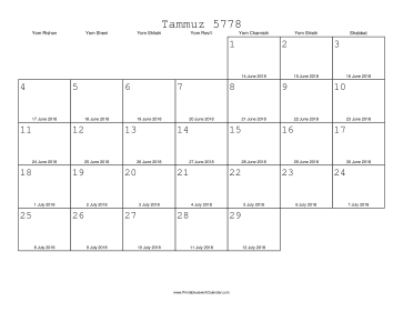 Tammuz 5778 Calendar with Gregorian equivalents