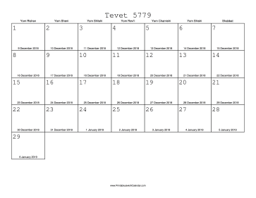 Tevet 5779 Calendar with Gregorian equivalents