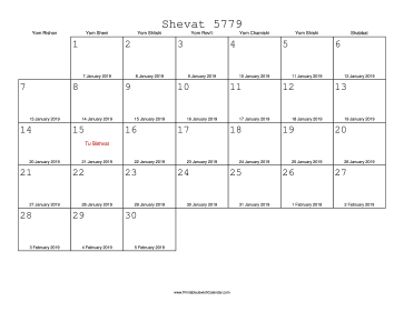 Shevat 5779 Calendar with Gregorian equivalents