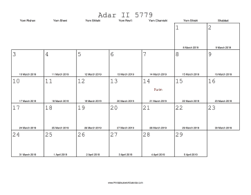 Adar II 5779 Calendar with Gregorian equivalents